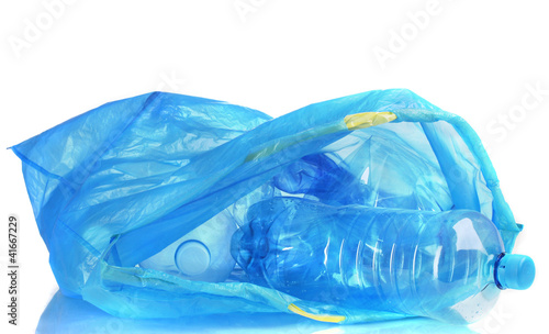 open blue garbage bag with trash isolated on white