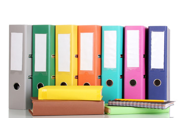 Bright office folders and books with stationery isolated
