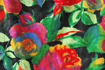 Stoffdetail / Jerseystoff mit Blumenmuster