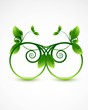 abstract nature green  leaf circle frame ecology vector