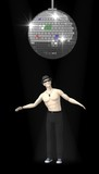 3d render of artificial character under discoball poster