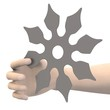 3d render of hand with shuriken