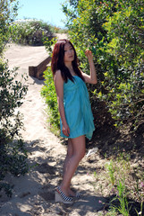 Asian girl with a light blue dress in the dunes 2