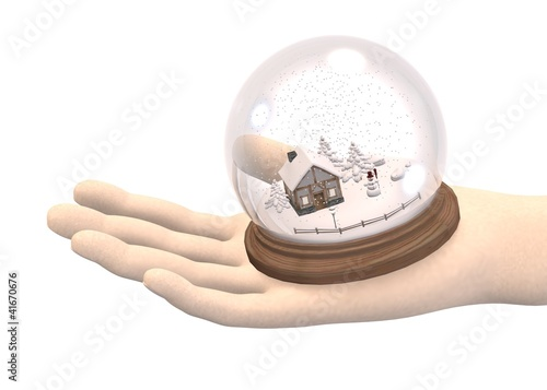 3d render of hand with snowglobe