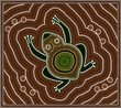 Illustration based on aboriginal style of dot painting depicting