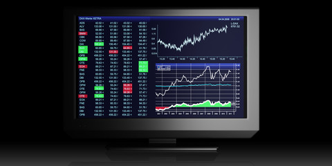 TV Illustration: business graphics on TV, the stock exchange tra