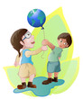 children holding globe balloon