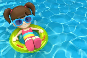 3d render of a kid floating with inflatable ring