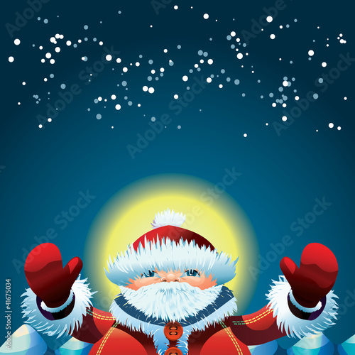 Santa Claus at the North Pole at New Year's night