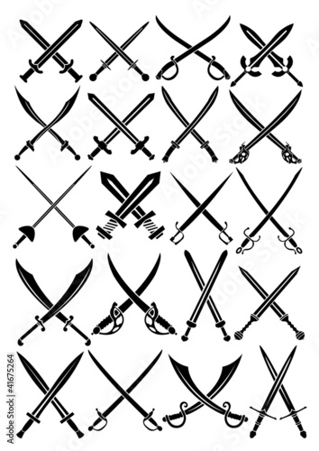 Crossed Swords Vector Collection in White Background