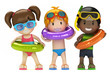 3d render of kids with inflatable ring