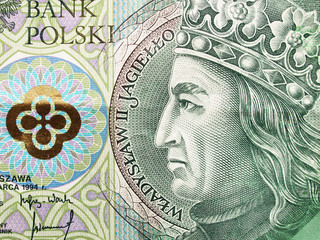 Extreme closeup of 100 zloty note. Polish currency