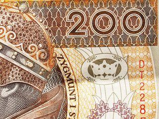 Extreme closeup of 200 zloty note. Polish currency.