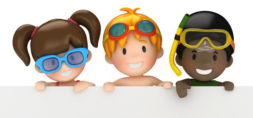3d render of kids and blank board