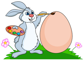 Rabbit painting eggs
