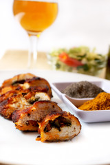 roast chicken breast with curry, pepper and wine