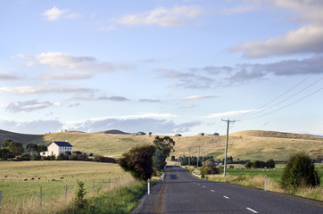 Road through farmland, Coal River Valley, Tasmania