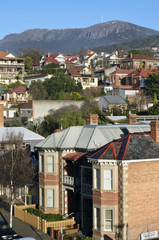 Hobart suburb with view to Mount Wellington