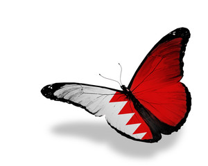 Bahraini flag butterfly flying, isolated on white background