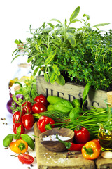 herbs in the box and fresh vegetables