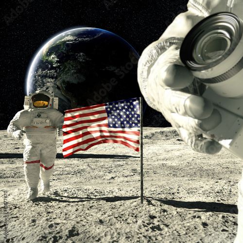 working astronauts on moon 3d rendering