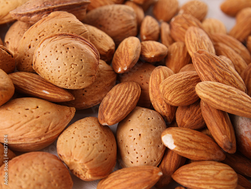 close up on heap of almonds