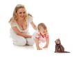 Kid and loving mother; girl steps on her hands forward to small