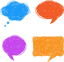 Colorful hand drawn speech and thought bubbles, vector