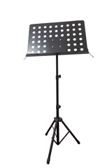 Empty metal music stand  isolated on a white background