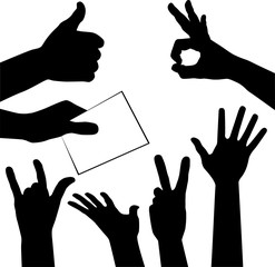 set of hands silhouettes, vector