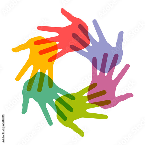 Icon of colorful hand prints,  vector