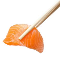 Chopsticks with sliced raw salmon