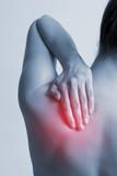women with hurt neck
