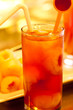 Ice lychee tea close up