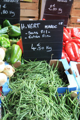 Common green beans or haricots verts on a French market