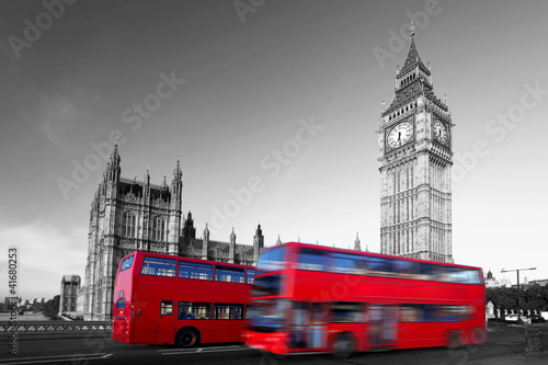 Fototapeta samoprzylepna Big Ben with red city buses in London, UK