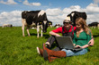 Young couple farmers in field with cows