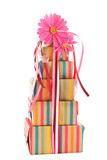 Colorful wrapped presents and flowers