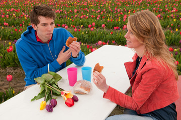 Young couple is having picnic