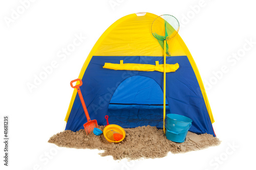 Tent in blue and yellow