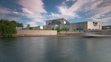 The Bundeskanzleramt (Kanzleramt) with Boats in 1080p HD, Berlin
