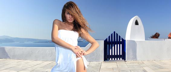 Young woman in Santorini