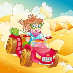 Little girl riding quad bike on desert (vector)
