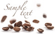 Jumping coffee beans, on white background (with sample text)