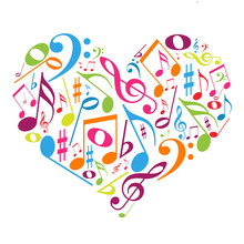 Красочные сердца с нотами - вкус в музыке