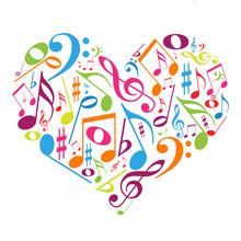 Bunte Herzen mit Noten - Musikgeschmack