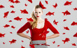 Fashion woman with red fishes