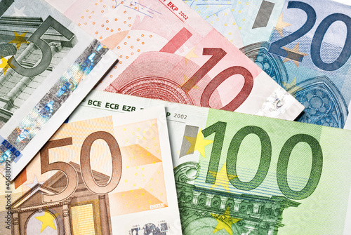 euro currency banknotes closeup