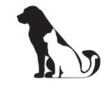 Black silhouette of dog and white cat isolated on white - 41688245