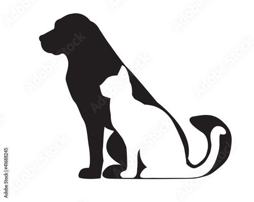 Fototapeta Black silhouette of dog and white cat isolated on white